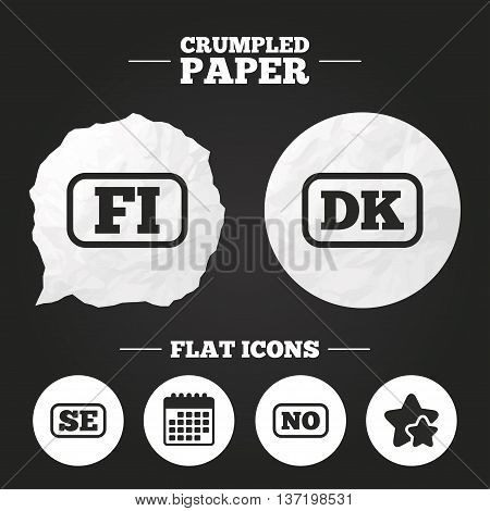 Crumpled paper speech bubble. Language icons. FI, DK, SE and NO translation symbols. Finland, Denmark, Sweden and Norwegian languages. Paper button. Vector