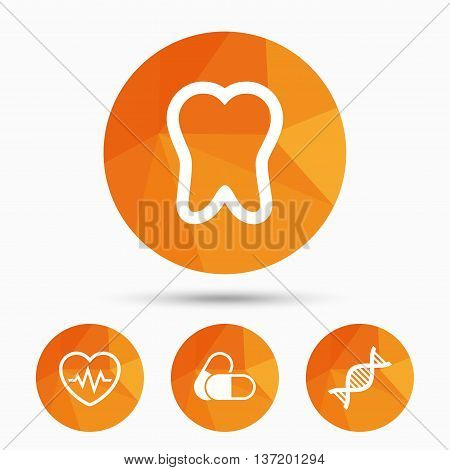 Maternity icons. Pills, tooth, DNA and heart cardiogram signs. Heartbeat symbol. Deoxyribonucleic acid. Dental care. Triangular low poly buttons with shadow. Vector