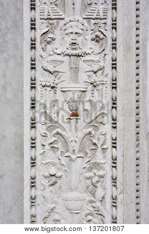 Butterfly on St Zechariah renaissance portal with grotesque decoration in Venice