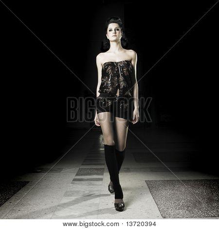 Studio fashion photo elegant girl in dress
