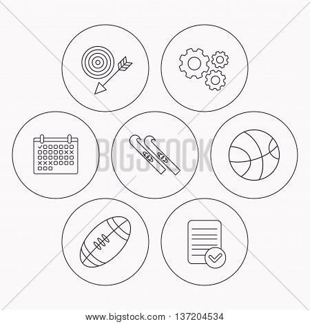 Sport fitness, skis and basketball icons. American footbal linear sign. Check file, calendar and cogwheel icons. Vector
