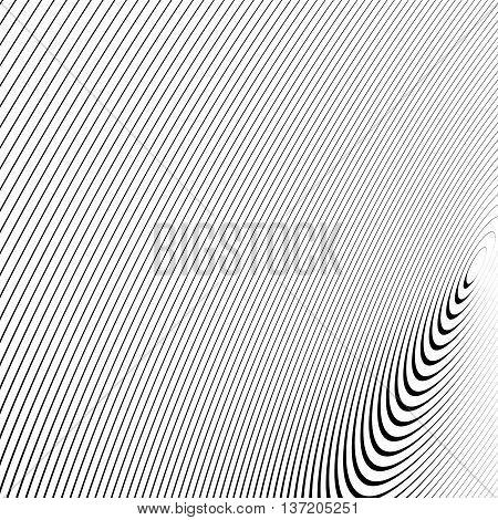 Circle Pattern With Dynamic, Irregular Lines. Geometric Circular Pattern With Radiating, Converging