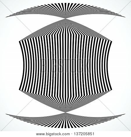 Vertical Stripes, Lines With Distortion, Warp Effect. Abstract Monochrome Geometry Illustration.
