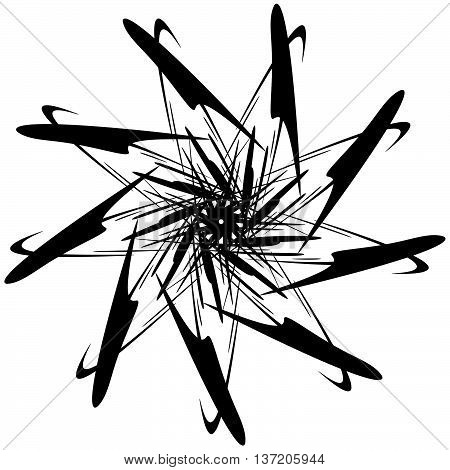 Circular Design With Distortion Effect. Abstract Monochrome Element On White. Distorted, Deformed Sp