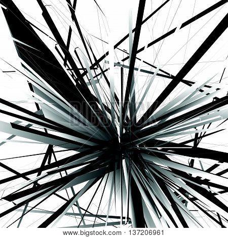 Abstract Edgy, Geometric Vector Art, Monochrome Angular Illustration With Random, Chaotic Overlappin