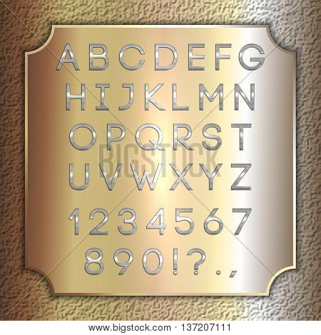 Vector silver coated alphabet letters, digits and punctuation on brass metallic plate