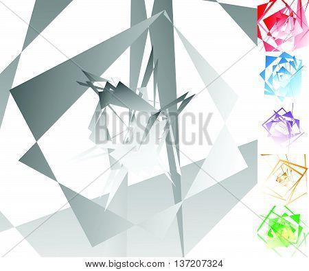 Edgy, Angular Geometric Art In 6 Colors.