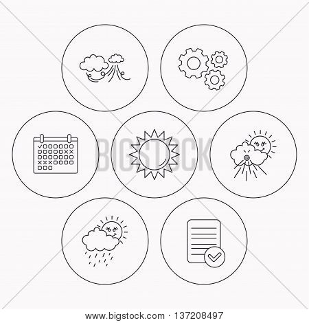 Weather, strong wind and rainy day icons. Sun linear sign. Check file, calendar and cogwheel icons. Vector