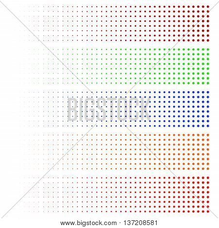 Halftone elements. Fading circles in 5 colors. poster