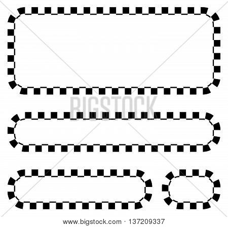 Set Of Blank Banners, Plaques With Checkered Borders For Racing, Auto Sport, Motor Sport, Gokart The