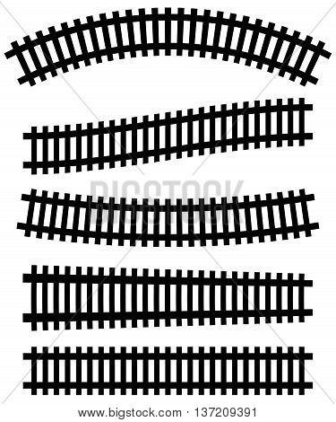 Railway, Railroad Silhouettes With Distortion Effect. Train, Metro, Subway, Tram Transportation Conc