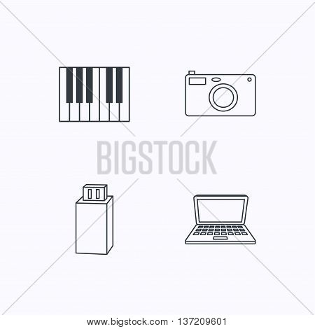 Photo camera, USB flash and notebook laptop icons. Piano linear sign. Flat linear icons on white background. Vector