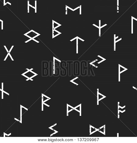 Abstract seamless grunge pattern of Elder Futhark runes on black background. Design element for background, textile, paper packaging, wrapping paper and other. Vector illustration.