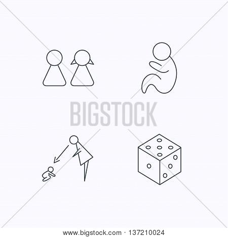Couple, paediatrics and dice icons. Under supervision linear sign. Flat linear icons on white background. Vector