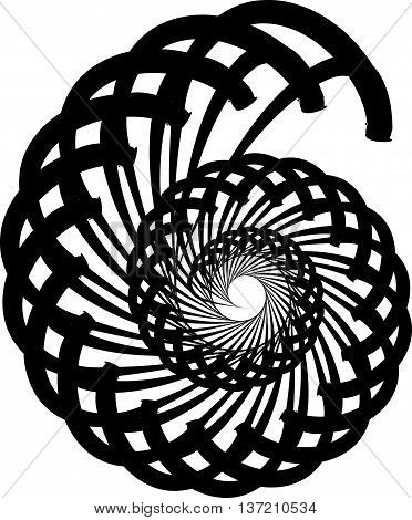 Spiral Volute, Snail Shape, Element. Rotating, Twirling Abstract Monochrome Illustration. Circular C