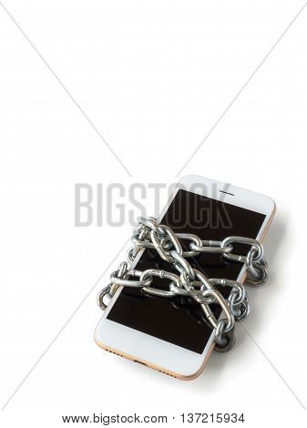 Modern mobile phone with chain locked isolate on white background with copy space and clipping path. Concept of social network issues forgot password information security robbery or piracy (Vertical)