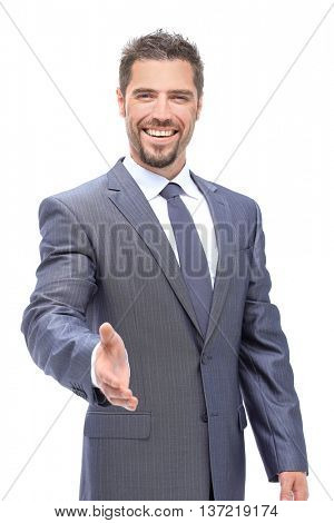 A business man with an open hand ready to seal a deal on a white background