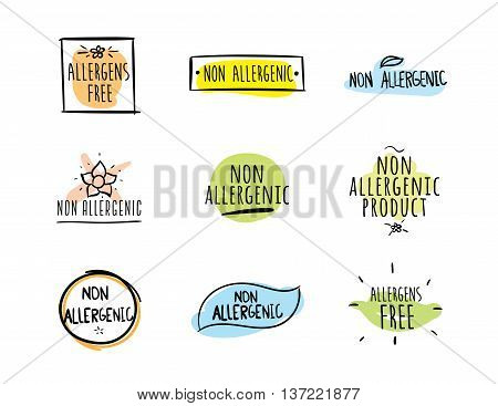 Allergens free, non allergenic product. Set of isolated vector labels, stickers, icons, marks. Hand drawn colorful design for packaging on white background.