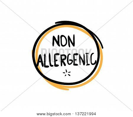 Allergens free, non allergenic product. Isolated vector label, stickers icon or mark. Hand drawn colorful design for packaging on white background.