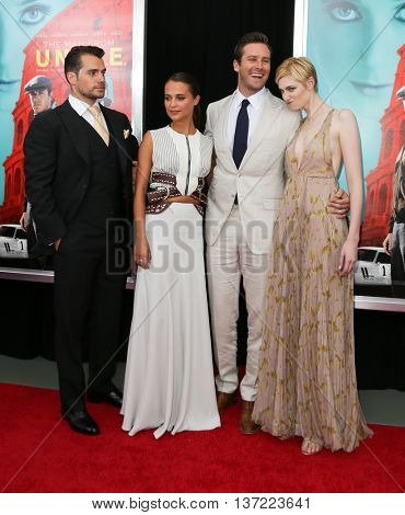 NEW YORK-AUG 10: (L-R) Actors Henry Cavill, Alicia Vikaner, Armie Hammer and Elizabeth Debicki attend
