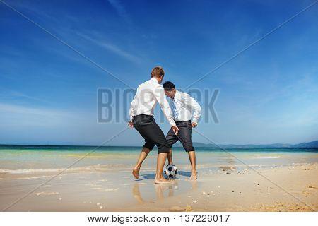 Beach Football Chasing Businessman Game Ball Concept