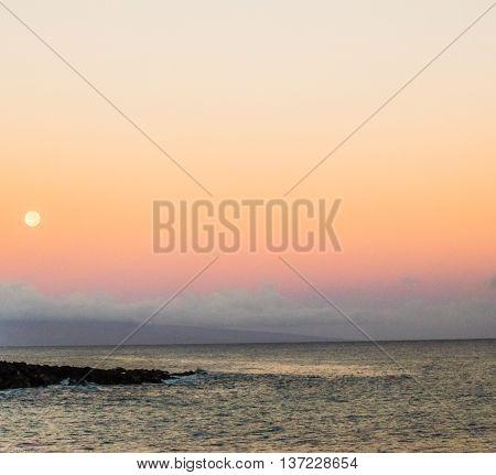 Morning Full Moon Over Lanai, Hawaii from Maui
