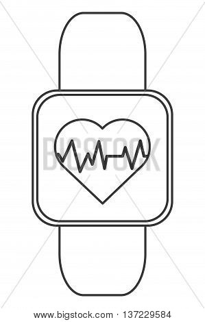 simple flat design heart rate monitor wrist band icon vector illustration