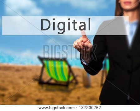 Digital - Business Woman Point Finger On Push Touch Screen And Pressing Digital Virtual Button.