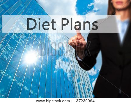 Diet Plans - Business Woman Point Finger On Push Touch Screen And Pressing Digital Virtual Button.