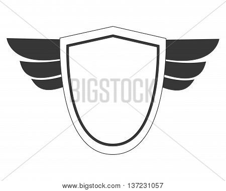 simple flat design shield with wings icon vector illustration