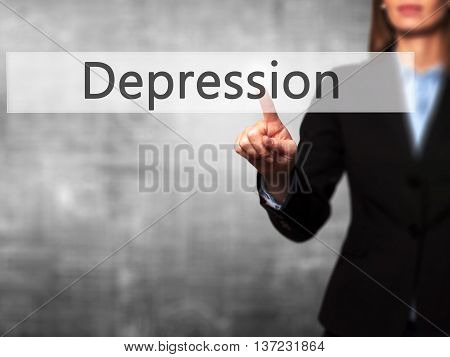 Depression - Business Woman Point Finger On Push Touch Screen And Pressing Digital Virtual Button.