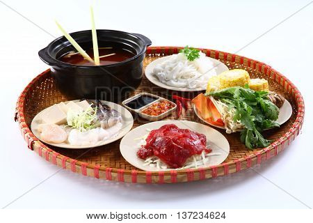 A Vietnamese tray of beef hot pot