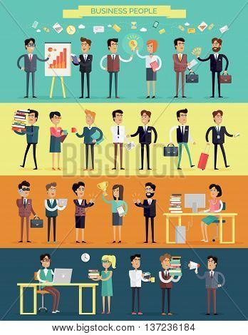 Big set business people characters in flat style design. Meeting, brainstorm, planning, success, work process, coffee break concept. Variety human personages in workflow process vector illustration.