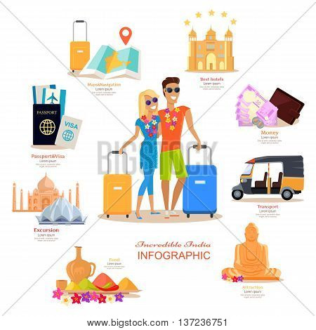Incredible India travel infographic flat design. Vacation in exotic country vector illustration. Couple India Honeymoon. Documents, money, buildings, food, transport hotel, navigation, vector icons.
