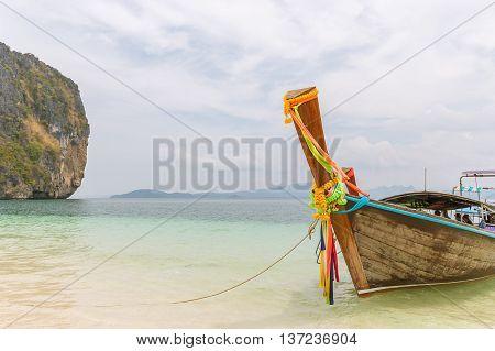Thai boats and landmark at Po-da island Krabi Province Andaman Sea South of Thailand.
