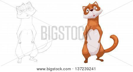 Mink Ferret. Coloring Book, Outline Sketch, Animal Mascot, Game Character Design isolated on White Background