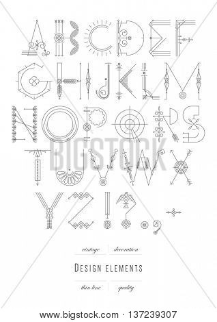 Vintage alphabet. original abstract letters. Thin line.