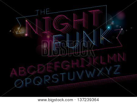 Vector of modern funky font and alphabet