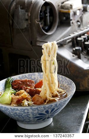 Traditional Chinese wanton noodle in the restaurant