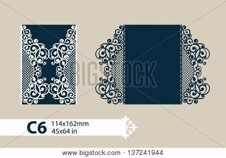 The layout of the cards in three additions. The template for greeting cards invitations menus etc. The picture suitable for laser cutting paper cutting or printing. Vector