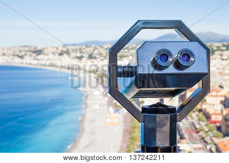 Binoculars to see the landscape in Nice French Riviera