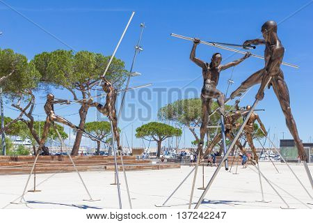 ANTIBES, FRANCE - June 20, 2016: Arts exposed on the Pre-des-Pecheurs esplanade in the old town. The area was renovated on 2014 and receives several events along the whole year.
