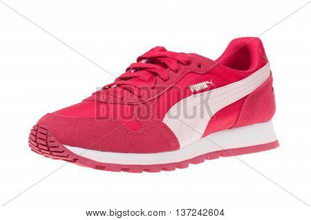 Varna Bulgaria - MAY 13 2016: PUMA ST RUNNER sport shoe. Puma a major German multinational company. Isolated on white. Product shots