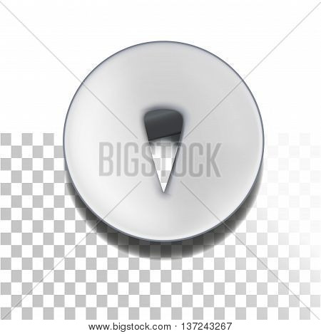 Retro pushpin isolated on white. Metallic retro thumbtack.