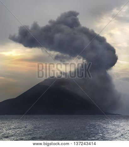 Volcano eruption at sunrise. Anak Krakatau in Indonesia