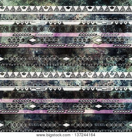 Ethnic boho african grunge pattern. Tribal old art print. Dark print background.