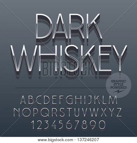 Set of slim reflective alphabet letters, numbers and punctuation symbols. Vector label with text Dark whiskey. File contains graphic styles