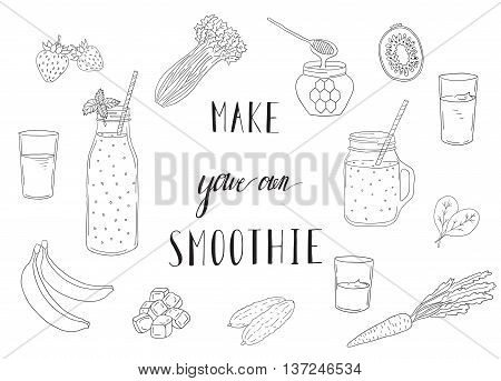 Smoothie recipe with a bottle and ingredients. Detox and healthy eating. Hand-drawing.