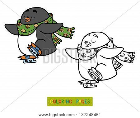 Coloring Book For Children, Penguin On Skates
