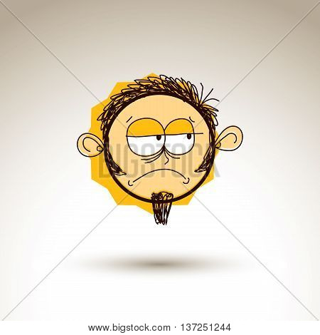 Vector Artistic Colorful Drawing Of Sad Person Face, Communication And Social Network Design Element